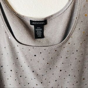 Sweater like tank top. XL gray/rhinestones.